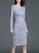 Gray Sheath Elegant Midi Dress