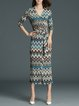 Statement Balloon Sleeve Stripes Midi Dresses