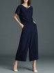 Navy Blue Work Two Piece Polyester Jumpsuit