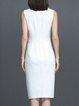 White Bodycon Crew Neck Sleeveless Stripes Midi Dress