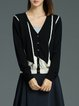 Black Long Sleeve Plain H-line Wool Cardigan