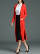 Red Knitted Buttoned Elegant Slit Cardigan