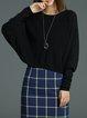 Black Batwing Knitted Shift Plain Sweater