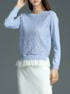 Blue Long Sleeve Knitted Pierced Paneled Plain Sweater