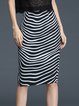 Black Sheath Stripes Elegant Midi Skirt