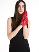 Red Plain Casual Leather Ribbed Gloves