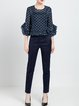 Navy Blue Work Cotton Straight Leg Pants