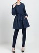 Navy Blue Pockets Plain Casual Coat