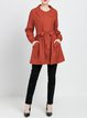 Red Polyester Crew Neck Long Sleeve Pockets Coat
