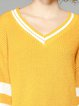 Yellow H-line V Neck Cotton Long Sleeve Sweater