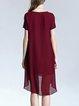 Red Plain Asymmetric Casual Chiffon Midi Dress