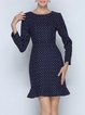 Long Sleeve Polka Dots Casual Flounce Mini Dress