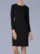 Black Solid Crew Neck Slit Long Sleeve Midi Dress