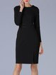 Black Solid Crew Neck Slit Long Sleeve Midi Dress