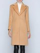 Camel Pockets Casual V Neck Solid Coat
