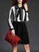 Bow Guipure A-line Keyhole Girly Long Sleeve Mini Dress