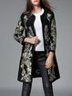 Black Floral Embroidered Long Sleeve Coat With Belt