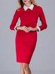Long Sleeve Shirt Collar Elegant Midi Dress