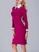 Elegant Long Sleeve Sheath Midi Dress