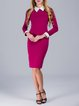 Elegant Long Sleeve Sheath Midi Dress