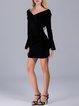 Frill Sleeve Elegant V Neck Cutout Mini Dress