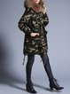 Multicolor Hoodie Long Sleeve Solid Faux Fur Down Coat