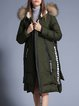 Long Sleeve Asymmetrical Casual Letter Faux Fur Hoodie Down Coat