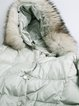 Light Green Cocoon Casual Faux Fur Hoodie Down Coat
