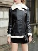 Black Zipper PU Plain Long Sleeve Faux Fur And Shearling Jacket