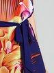 Short Sleeve Floral-print Crew Neck Casual Midi Dress