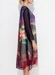 Multicolor Casual  Printed Crew Neck Midi Dress