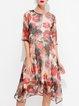 Red  Floral Half Sleeve Midi Dress