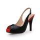Black PU Peep Toe Dress Spring/Fall Heels