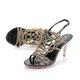 Black Stiletto Heel Summer Party & Evening Middle East Rhinestone Sandals