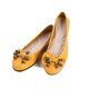 Yellow Cowhide Leather Flat Heel Bowknot Casual Flats