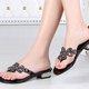 Black Rhinestone Low Heel Casual Slippers