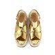 Golden Summer Leather Buckle Platform Casual Sandals