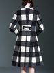 Elegant Turtleneck Pockets Checkered/Plaid Coat