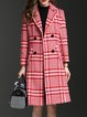 Long Sleeve Elegant A-line Houndstooth Wool Blend Coat