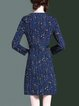 Geometric Printed H-line Casual Long Sleeve V Neck Mini Dress
