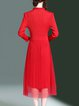 Pleated Long Sleeve Girly A-line Stand Collar Midi Dress