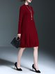 Burgundy Wool Solid Long Sleeve A-line Sweater Dress