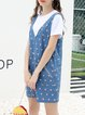 Printed Casual Two Piece Short Sleeve Midi Dress