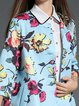 Sky Blue Casual Printed H-line Polyester Coat