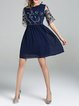 Shorts Sleeve Casual A-line Midi Dress