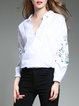 White V-Neck Long Sleeve Embroidered Polyester Blouse