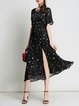 Black Frill Sleeve Printed Midi Dress