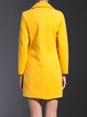 Yellow Pockets Long Sleeve Solid Coat