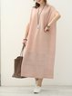 Pink Short Sleeve Cotton Shift Dress With Cami
