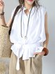 White Stand Collar Casual Linen Top